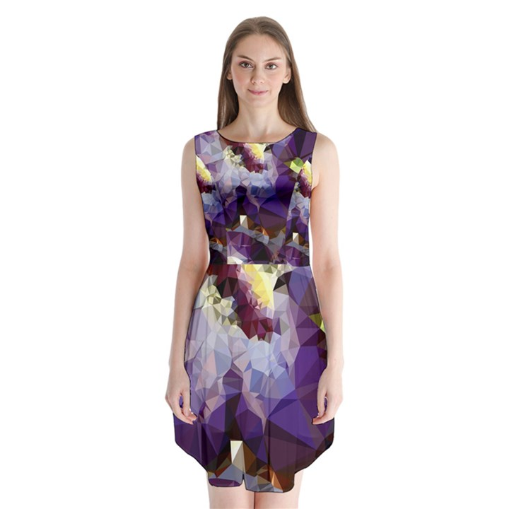 Purple Abstract Geometric Dream Sleeveless Chiffon Dress
