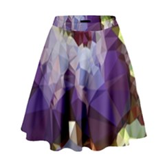 Purple Abstract Geometric Dream High Waist Skirt by DanaeStudio