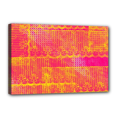 Yello And Magenta Lace Texture Canvas 18  X 12  by DanaeStudio