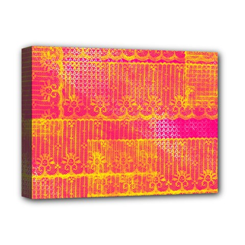 Yello And Magenta Lace Texture Deluxe Canvas 16  X 12   by DanaeStudio