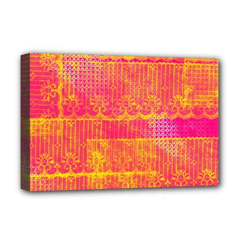 Yello And Magenta Lace Texture Deluxe Canvas 18  X 12   by DanaeStudio