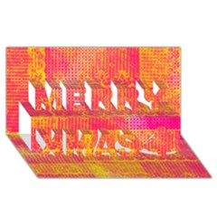 Yello And Magenta Lace Texture Merry Xmas 3d Greeting Card (8x4) by DanaeStudio