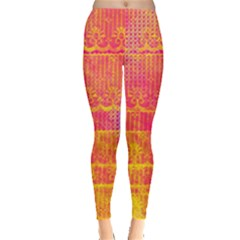 Yello And Magenta Lace Texture Leggings  by DanaeStudio