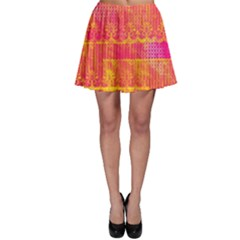 Yello And Magenta Lace Texture Skater Skirt by DanaeStudio