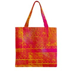 Yello And Magenta Lace Texture Zipper Grocery Tote Bag by DanaeStudio