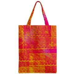 Yello And Magenta Lace Texture Zipper Classic Tote Bag by DanaeStudio