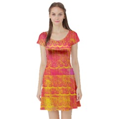 Yello And Magenta Lace Texture Short Sleeve Skater Dress by DanaeStudio