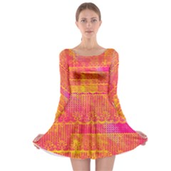 Yello And Magenta Lace Texture Long Sleeve Skater Dress by DanaeStudio