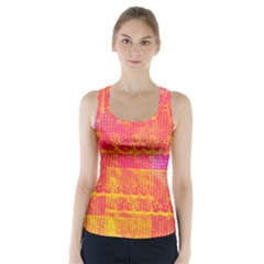 Yello And Magenta Lace Texture Racer Back Sports Top