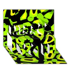 Green Neon Abstraction Miss You 3d Greeting Card (7x5) by Valentinaart