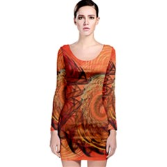 Nautilus Shell Abstract Fractal Long Sleeve Bodycon Dress by designworld65
