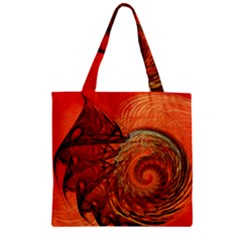 Nautilus Shell Abstract Fractal Zipper Grocery Tote Bag by designworld65