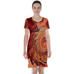 Nautilus Shell Abstract Fractal Short Sleeve Nightdress by designworld65