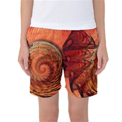 Nautilus Shell Abstract Fractal Women s Basketball Shorts by designworld65