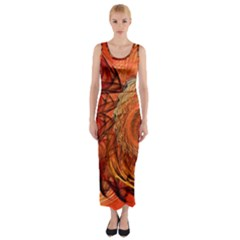 Nautilus Shell Abstract Fractal Fitted Maxi Dress by designworld65