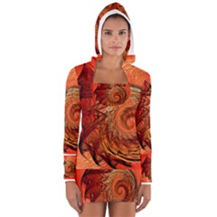 Nautilus Shell Abstract Fractal Women s Long Sleeve Hooded T-shirt by designworld65