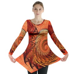 Nautilus Shell Abstract Fractal Long Sleeve Tunic  by designworld65