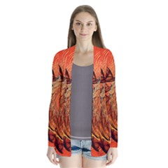 Nautilus Shell Abstract Fractal Drape Collar Cardigan by designworld65