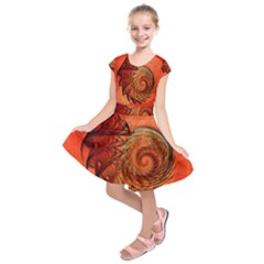 Nautilus Shell Abstract Fractal Kids  Short Sleeve Dress by designworld65