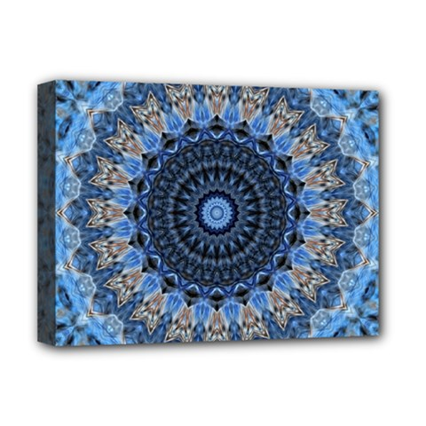 Feel Blue Mandala Deluxe Canvas 16  X 12   by designworld65