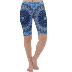 Feel Blue Mandala Cropped Leggings  by designworld65