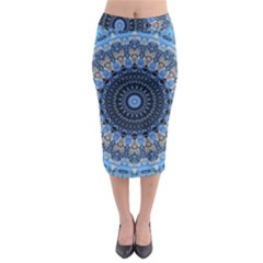 Feel Blue Mandala Midi Pencil Skirt by designworld65