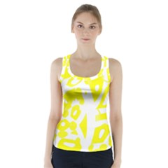 Yellow Sunny Design Racer Back Sports Top by Valentinaart