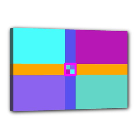 Right Angle Squares Stripes Cross Colored Canvas 18  X 12  by EDDArt