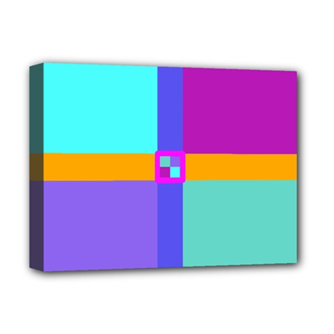 Right Angle Squares Stripes Cross Colored Deluxe Canvas 16  X 12   by EDDArt