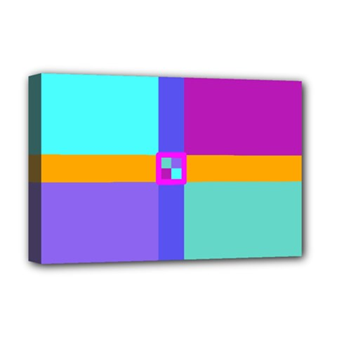 Right Angle Squares Stripes Cross Colored Deluxe Canvas 18  X 12   by EDDArt