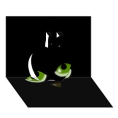Halloween - Back Cat Apple 3d Greeting Card (7x5)