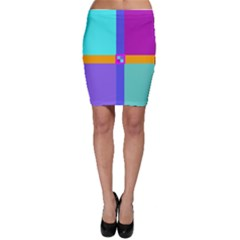Right Angle Squares Stripes Cross Colored Bodycon Skirt by EDDArt