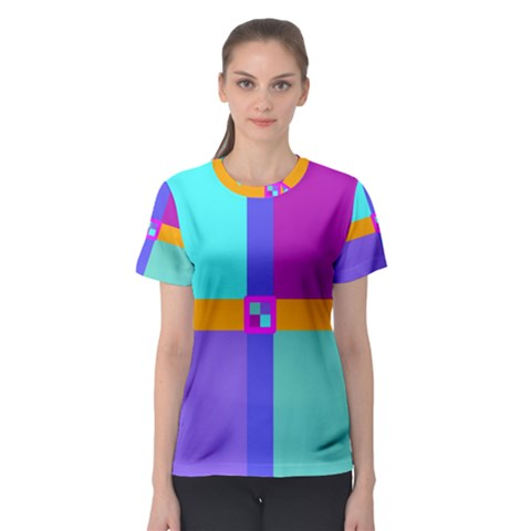 Right Angle Squares Stripes Cross Colored Women s Sport Mesh Tee by EDDArt