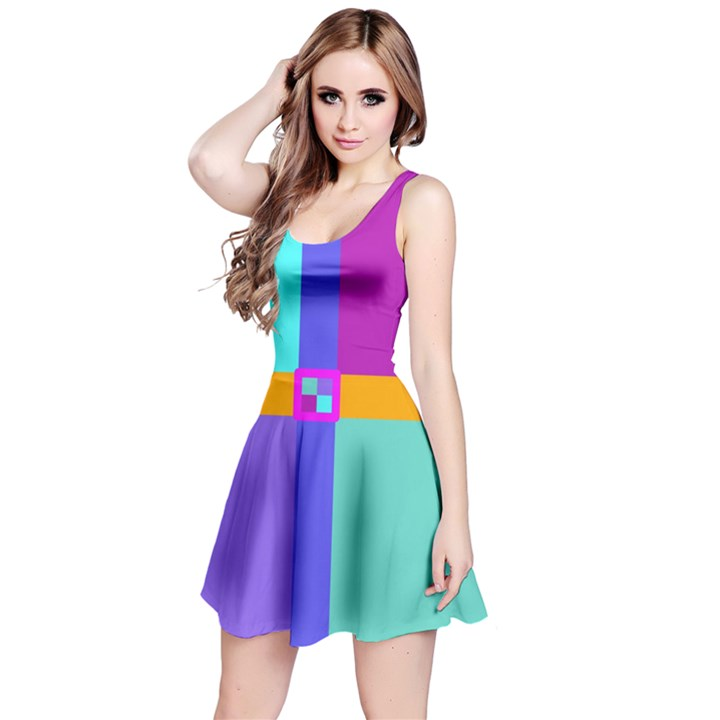 Right Angle Squares Stripes Cross Colored Reversible Sleeveless Dress