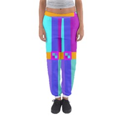 Right Angle Squares Stripes Cross Colored Women s Jogger Sweatpants by EDDArt