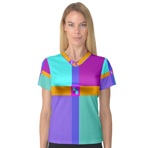 Right Angle Squares Stripes Cross Colored Women s V-neck Sport Mesh Tee by EDDArt