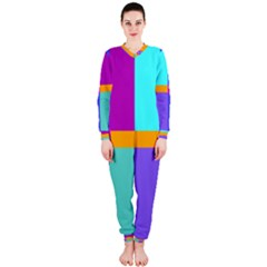 Right Angle Squares Stripes Cross Colored Onepiece Jumpsuit (ladies)