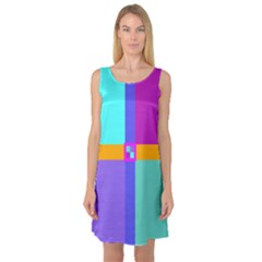 Right Angle Squares Stripes Cross Colored Sleeveless Satin Nightdress by EDDArt