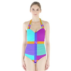 Right Angle Squares Stripes Cross Colored Halter Swimsuit by EDDArt