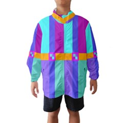Right Angle Squares Stripes Cross Colored Wind Breaker (kids) by EDDArt