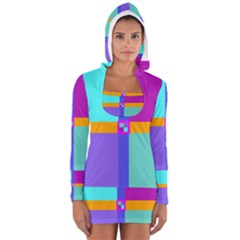 Right Angle Squares Stripes Cross Colored Women s Long Sleeve Hooded T-shirt by EDDArt