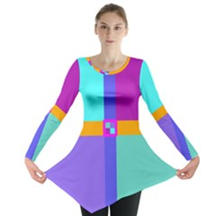 Right Angle Squares Stripes Cross Colored Long Sleeve Tunic  by EDDArt
