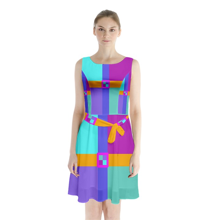 Right Angle Squares Stripes Cross Colored Sleeveless Chiffon Waist Tie Dress