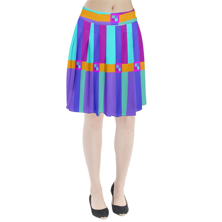 Right Angle Squares Stripes Cross Colored Pleated Skirt