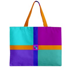 Right Angle Squares Stripes Cross Colored Medium Tote Bag by EDDArt