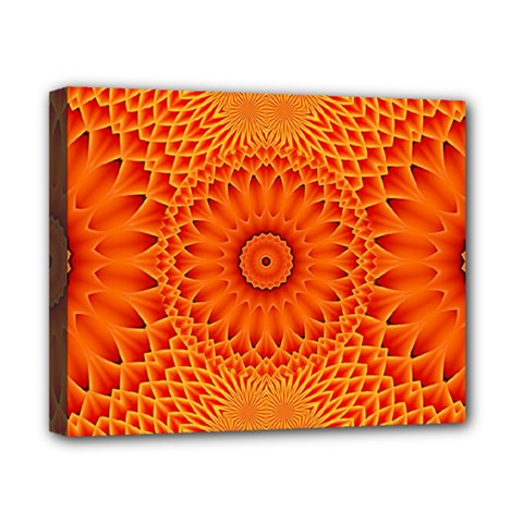 Lotus Fractal Flower Orange Yellow Canvas 10  X 8  by EDDArt