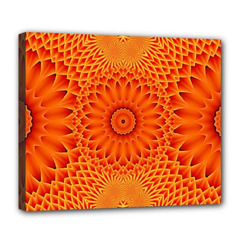 Lotus Fractal Flower Orange Yellow Deluxe Canvas 24  X 20   by EDDArt