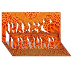 Lotus Fractal Flower Orange Yellow Happy Birthday 3d Greeting Card (8x4) by EDDArt