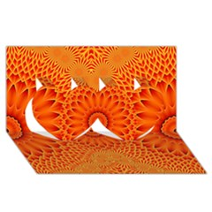 Lotus Fractal Flower Orange Yellow Twin Hearts 3d Greeting Card (8x4) by EDDArt