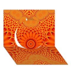 Lotus Fractal Flower Orange Yellow Circle 3d Greeting Card (7x5) by EDDArt
